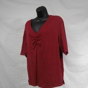 Worthington Woman Stretch Size 2X Pink V Neck Top